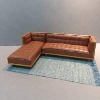 Mid Century Mod Sectional/Brown Leather