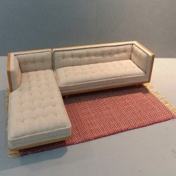 Mid Century Mod Sectional/Tan Linen