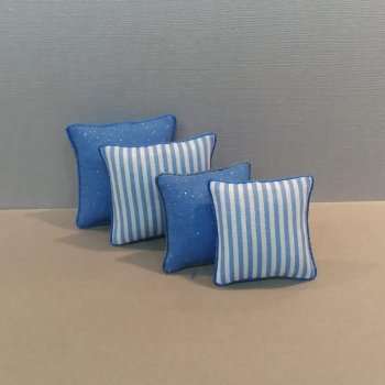 Cobalt Blue/White Stripe - 4 Pillow Set