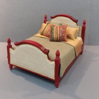 Mahogany Upholstered Bed-Moss/Gold