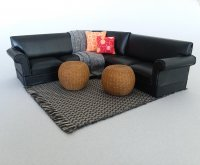 Sectional Grouping - orange pillows