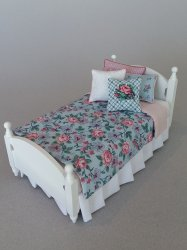 White Single Bed - Blue/Rose Bedding
