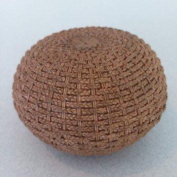"""Wicker"" Ottoman Natural Finish"