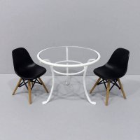 Round Table & 2 Eames Dining Chairs