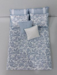 D-164 Steel Blue on White Toile