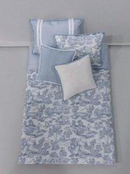S-358 Steel Blue on White Toile Print