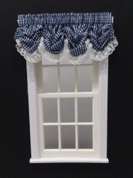 #101-Balloon Valance - #7 Navy Gingham