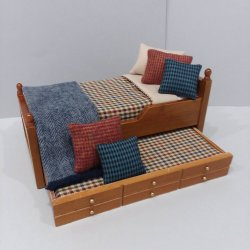 Trundle Bed/ Navy, Rust, Camel Bedding