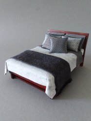 Modern Bed - Grey/White Fabric