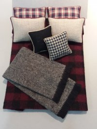 D-203 Black & Wine Plaid Linen Accents