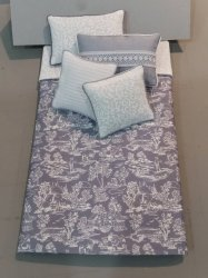 S-359 White on Steel Blue Toile