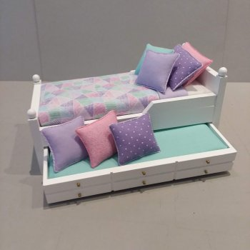 Trundle Bed/Aqua, Lilac & Pink