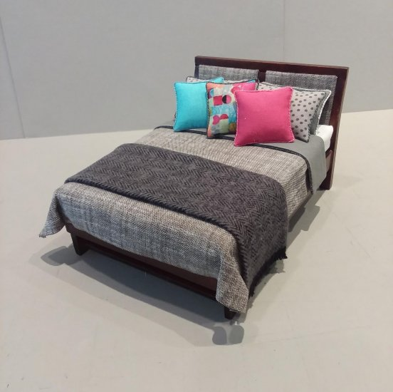 Modern Bed - Grey Linen/multicolor pillows - Click Image to Close