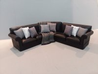Leather Sectional - Black/silver & grey pllows