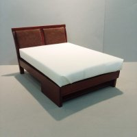 Modern Mahongony Double Bed - Brown Suede Panels