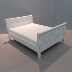 Double Sleigh Bed White finish