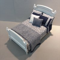 Panel Double Bed - Navy/White Floral