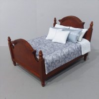 Walnut Panel Bed - Steel Blue/Ivory Toile