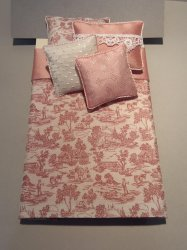 S-380 Deep Rose Toile on White