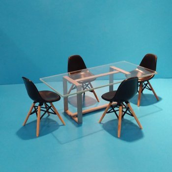 Silver Table & 4 Eames Chairs-Black