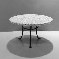 Round Black Table - Faux Grey Granite top