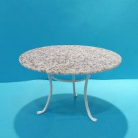 Round White Table - Faux Gray Granite top
