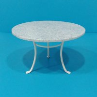 Round White Table - Faux Blue Granite top