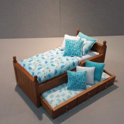 Trundle Bed/ Aqua & White Sailboats
