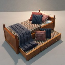 Trundle Bed/ Navy, Rust, Camel