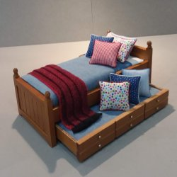 Walnut Trundle/ Denim, Red & Blue Accents
