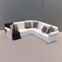 Linen Sectional - White/throw & tropical pillows