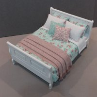 White Sleigh Bed - Mint Green/Rose