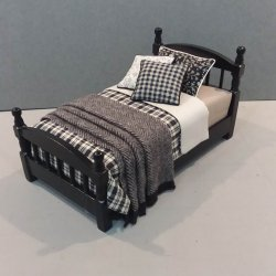 Black Single Bed/Black & Tan