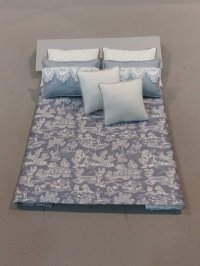 D-166 White on Steel Blue Toile