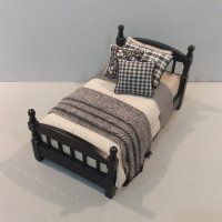 Black Single Bed/Tan Linen Charcoal & Black