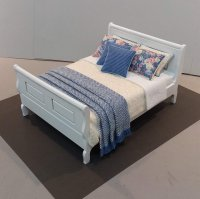 White Sleigh Bed - Yellow & Periwinkle