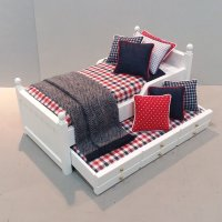 White Trundle/Navy/Red & White Plaid