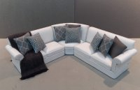 Linen Sectional - White/Graphite & Smokey Blue