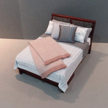 Modern Bed - Silver/White with Blush accent