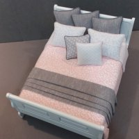 White Sleigh Bed - Coral/White Scroll