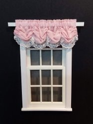 #101-Balloon Valance - #5 Pink Gingham