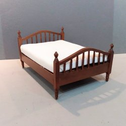 Double Spindle Bed Walnut finish