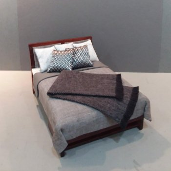 Modern Bed - Grey Linen/Silver & White