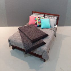 Modern Bed - Grey Linen/Abstract, Aqua & Coral