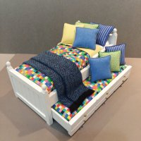White Trundle/ Boxes, Lime & Cobalt