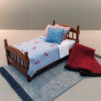 Walnut Single Bed - Nautical Print