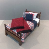 Traditional Single Bed Navy/Red & White Check