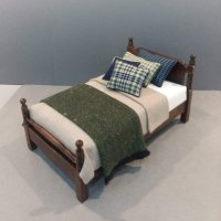 Traditional Single Bed Tan Linen/Navy & Moss