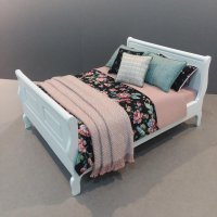 White Sleigh Bed - Black & Rose Floral