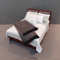 Modern Bed - White & Grey/Heather Throw